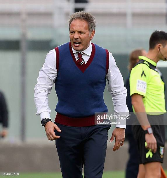 Head coach of Torino Sinisa Mihajlovic reacts during the Serie A match between FC Crotone and FC Torino at Stadio Comunale Ezio Scida on November 20...