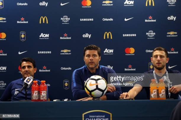 Head Coach of Tottenham Hotspur Mauricio Pochettino holds a press conference after a friendly match between AS Roma and Tottenham Hotspur within...