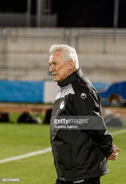 Head coach of Tunisia Henryk Kasperczak looks on during the friendly football match between Tunisia and Cameroon at the Ben Jannet stadium in...