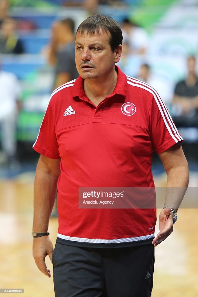 Head coach of Turkey Ergin Ataman gestures during a friendly match between Philippines and Turkey friendly match at Mall of Asia Arena (MOA) in Pasay, Philippines on July 01, 2016.