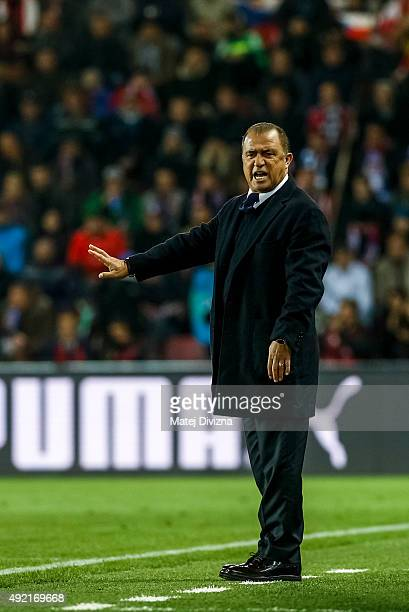 Head coach of Turkey Fatih Terim gestures during the UEFA EURO 2016 Group A Qualifier match between Czech Republic and Turkey at Letna Stadium on...