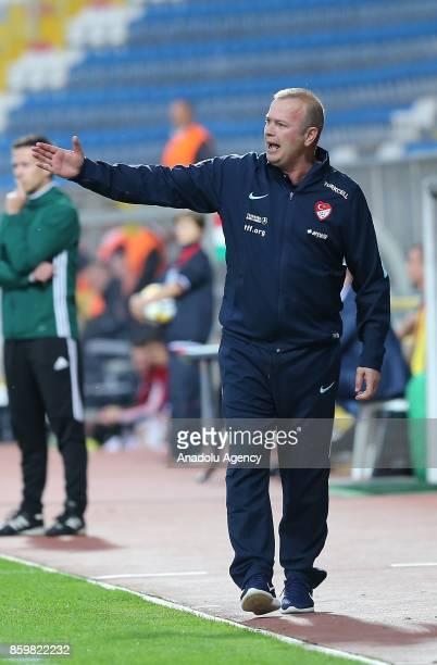 Head Coach of Turkey U21 Abdullah Ercan gestures during the 2017 UEFA European Under21 Championship qualification Group 6 football match Turkey U 21...