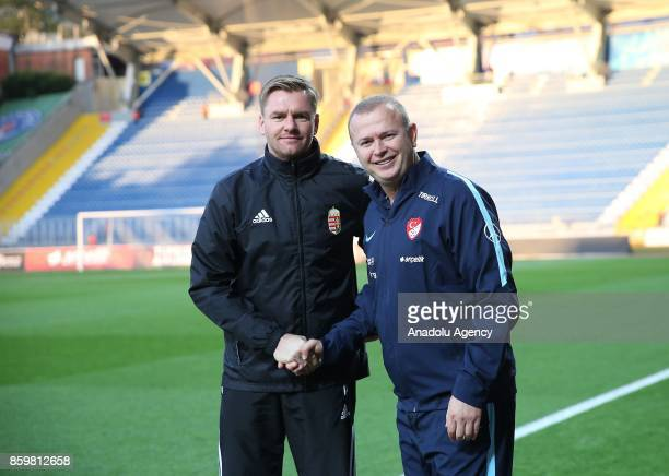 Head Coach of Turkey U21 Abdullah Ercan shakes hands with Head Coach of Hungary U 21 Michael Boris ahead of the 2017 UEFA European Under21...