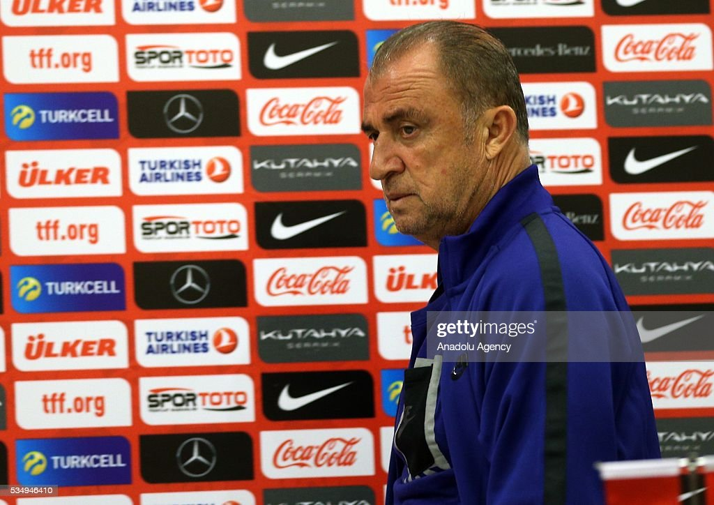 Head coach of Turkey's national football team Fatih Terim arrives for a media conference at the Gloria Serenity Resort in Belek district of Turkey's Antalya province on May 28, 2016, ahead of a friendly game against Montenegro which will be played on May 29, 2016, at the Antalya Arena, as part of their Euro 2016 preparations.