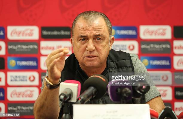 Head coach of Turkey's national football team Fatih Terim attends a press conference before the friendly football match between Qatar and Turkey at...