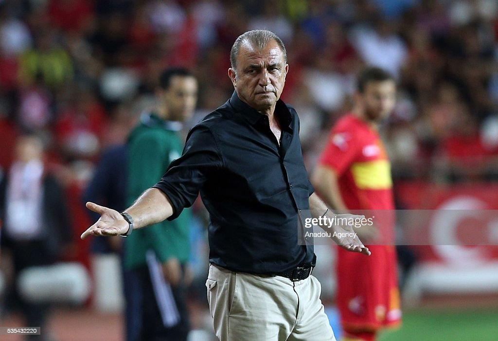 Head coach of Turkey's national football team Fatih Terim reacts during the friendly football match between Turkey and Montenegro at Antalya Ataturk Stadium in Antalya, Turkey on May 29, 2016.