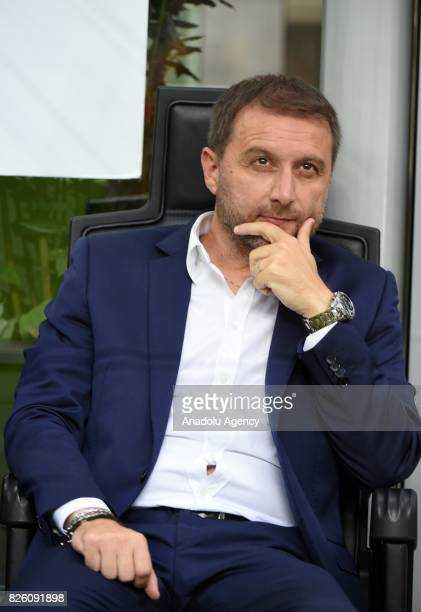 Head coach of CS U Cairova Devis Mangia sits on the bench during the UEFA Europa League third qualifying round 2nd leg match between AC Milan and CS...
