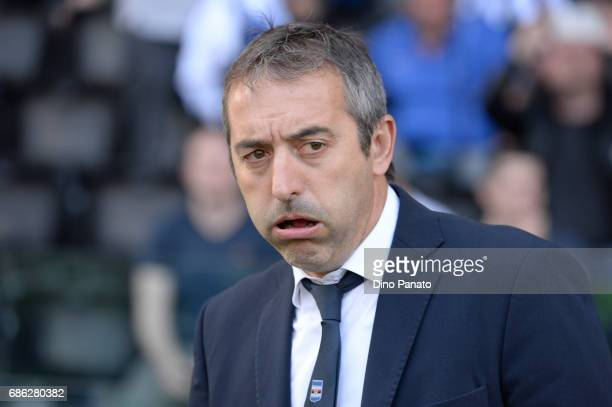Head coach of UC Samdoria Marco Giampaolo looks on during the Serie A match between Udinese Calcio and UC Sampdoria at Stadio Friuli on May 21 2017...