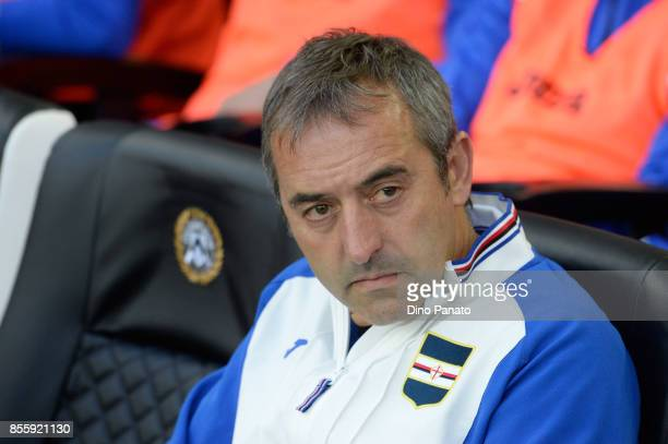 Head coach of UC Samdoria Marco Giampaolo looks on during the Serie A match between Udinese Calcio and UC Sampdoria at Stadio Friuli on September 30...