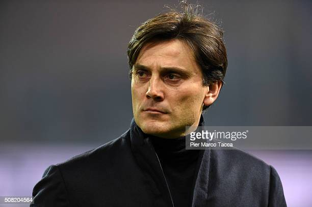 Head Coach of UC Sampdoria Vincenzo Montella looks during the Serie A match between UC Sampdoria and Torino FC at Stadio Luigi Ferraris on February 3...