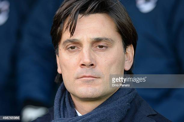 Head coach of UC Sampdoria Vincenzo Montella looks on during the Serie A match between Udinese Calcio and UC Sampdoria at Stadio Friuli on November...