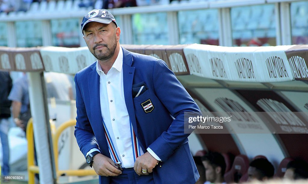 Head Coach of UC Sampdoria Walter Zenga looks during the Serie A match between Torino FC and UC Sampdoria at Stadio Olimpico di Torino on September 20, 2015 in Turin, Italy.