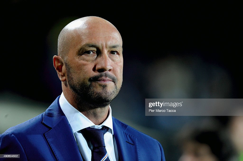 Head coach of UC Sampdoria <a gi-track='captionPersonalityLinkClicked' href=/galleries/search?phrase=Walter+Zenga&family=editorial&specificpeople=891748 ng-click='$event.stopPropagation()'>Walter Zenga</a> looks during the Serie A match between Atalanta BC and UC Sampdoria at Stadio Atleti Azzurri d'Italia on September 28, 2015 in Bergamo, Italy.
