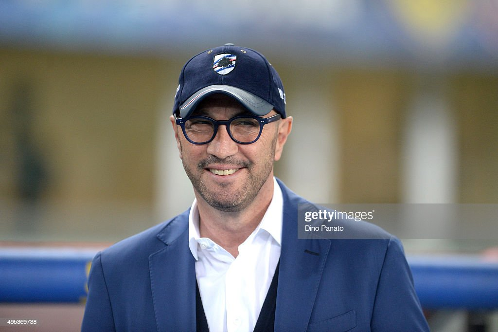 Head coach of UC Sampdoria <a gi-track='captionPersonalityLinkClicked' href=/galleries/search?phrase=Walter+Zenga&family=editorial&specificpeople=891748 ng-click='$event.stopPropagation()'>Walter Zenga</a> looks on during the Serie A match between AC Chievo Verona and UC Sampdoria at Stadio Marc'Antonio Bentegodi on November 2, 2015 in Verona, Italy.