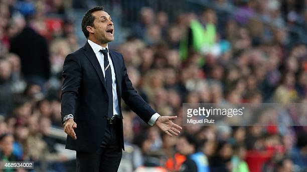Head coach of UD Almeria and former player of FC Barcelona Sergi Barjuan gives instructions to his team during the La Liga match between FC Barcelona...