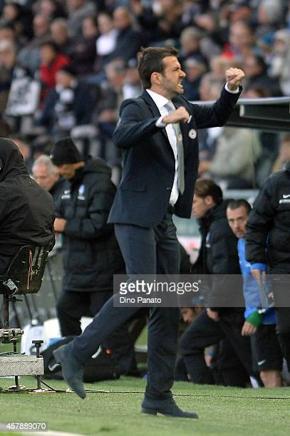 Head coach of Udinese Andrea Stramaccioni celebrates victory after the Serie A match between Udinese Calcio and Atalanta BC at Stadio Friuli on...