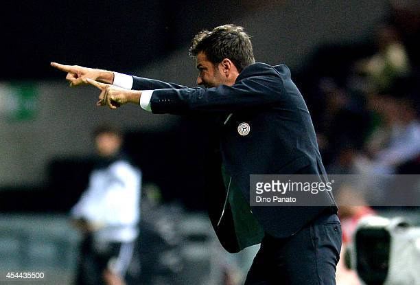 Head coach of Udinese Andrea Stramaccioni gestures during the Serie A match between Udinese Calcio and Empoli FC at Stadio Friuli on August 31 2014...