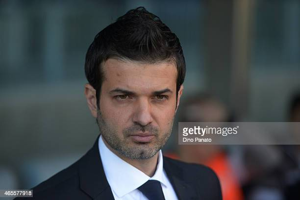 Head coach of Udinese Andrea Stramaccioni loks on during the Serie A match between Udinese Calcio and Torino FC at Stadio Friuli on March 8 2015 in...