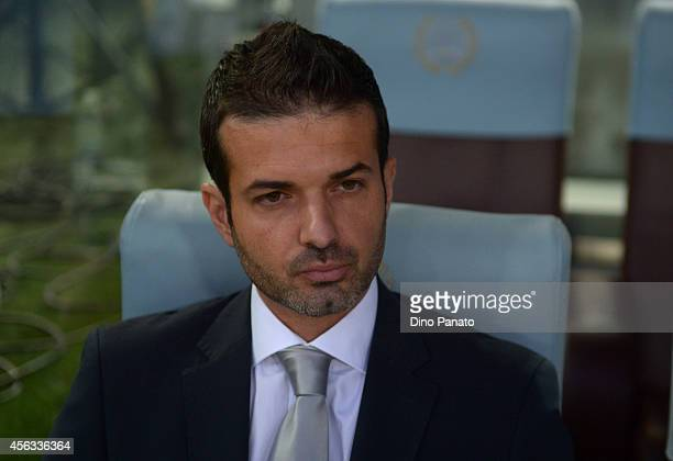 Head coach of Udinese Andrea Stramaccioni looks on during the Serie A between Udinese Calcio and Parma FC at Stadio Friuli on September 29 2014 in...