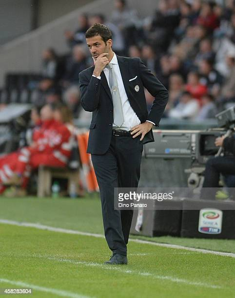 Head coach of Udinese Andrea Stramaccioni looks on during the Serie A match between Udinese Calcio and Genoa CFC at Stadio Friuli on November 2 2014...