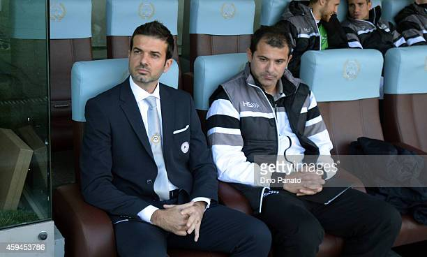 Head coach of Udinese Andrea Stramaccioni looks on during the Serie A match between Udinese Calcio and AC Chievo Verona at Stadio Friuli on November...