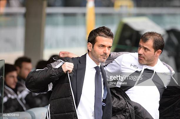 Head coach of Udinese Andrea Stramaccioni looks on during the Serie A match between Udinese Calcio and Juventus FC at Stadio Friuli on February 1...
