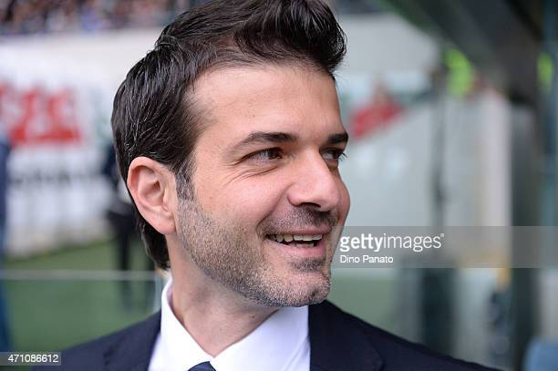 Head coach of Udinese Andrea Stramaccioni looks on during the Serie A match between Udinese Calcio and AC Milan at Stadio Friuli on April 25 2015 in...