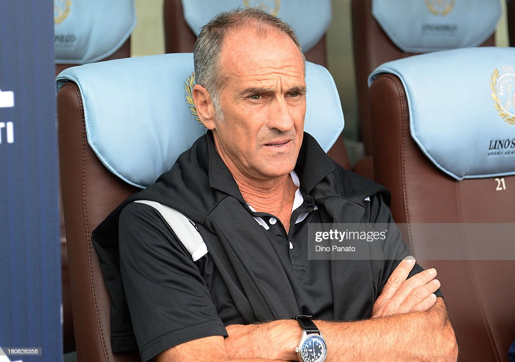 Head coach of Udinese Calcio <a gi-track='captionPersonalityLinkClicked' href=/galleries/search?phrase=Francesco+Guidolin&family=editorial&specificpeople=770478 ng-click='$event.stopPropagation()'>Francesco Guidolin</a> looks on during the Serie A match between Udinese Calcio and Bologna FC at Stadio Friuli on September 15, 2013 in Udine, Italy.