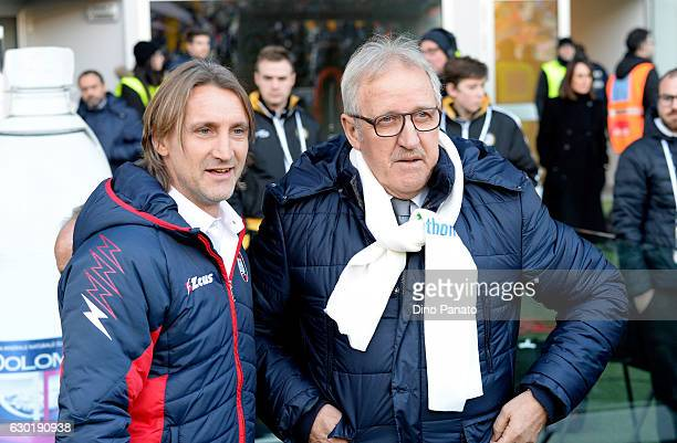Head coach of Udinese Calcio Luigi Del Neri and Head coach of FC Crotone Davide Nicola look on before the Serie A match between Udinese Calcio and FC...