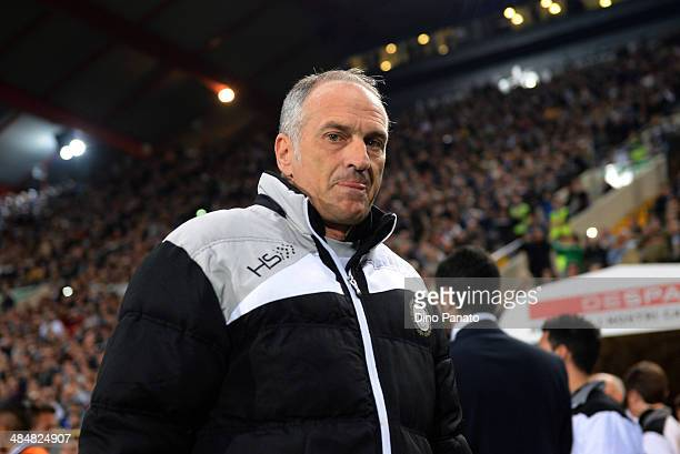 Head coach of Udinese Francesco Guidolin looks on during the Serie A match between Udinese Calcio and Juventus at Stadio Friuli on April 14 2014 in...