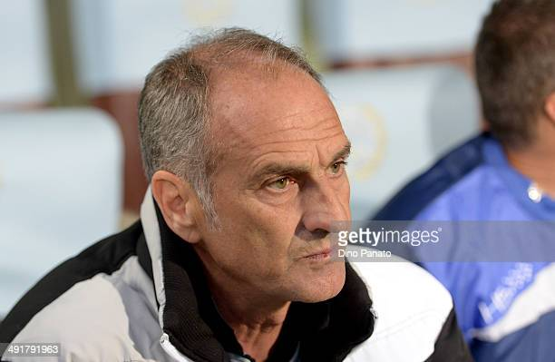Head coach of Udinese Francesco Guidolin looks on during the Serie A match between Udinese Calcio and Sampdoria at Stadio Friuli on May 17 2014 in...
