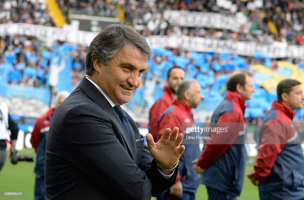 Head coach of Udinese Luigi De Canio looks on during the Serie A match between Udinese Calcio and Torino FC at Dacia Arena on April 30, 2016 in Udine, Italy.