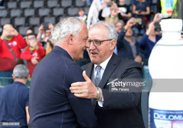 Head coach of Udinese Luigi Del Neri shakes hands with Head coach of Genoa Andrea Mandorlini during the Serie A match between Udinese Calcio and...