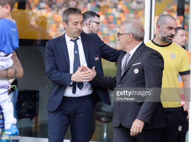 Head coach of Udinese Luigi Del Neri shakes hands with Head coach of UC Samdoria Marco Giampaolo before the Serie A match between Udinese Calcio and...