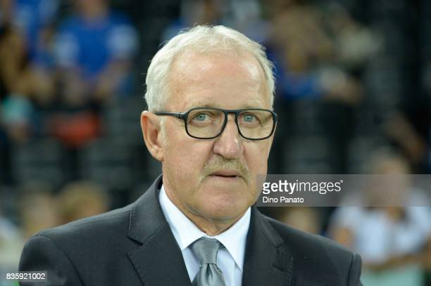 Head coach of Udinese Luigi Delneri looks on during the Serie A match between Udinese Calcio and AC Chievo Verona at Friuli Stadium on August 20 2017...