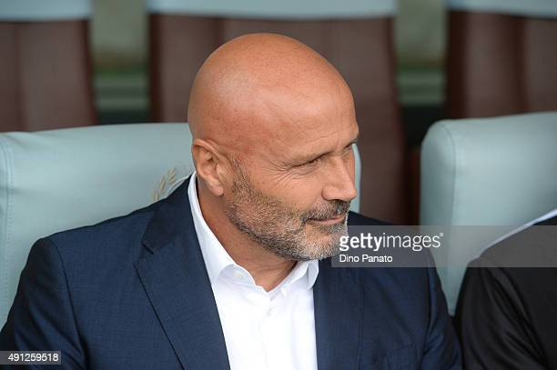 Head coach of Udinese Stefano Colantuono looks on during the Serie A match between Udinese Calcio and Genoa CFC at Stadio Friuli on October 4 2015 in...