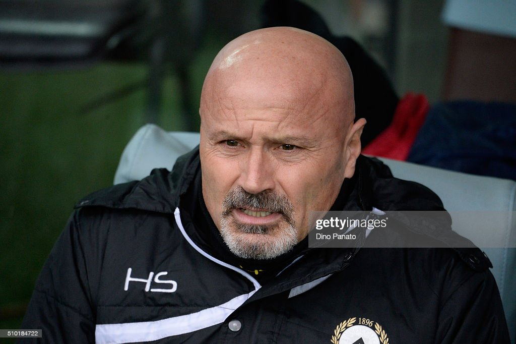 Head coach of Udinese Stefano Colantuono looks on during the Serie A match between Udinese Calcio and Bologna FC at Stadio Friuli on February 14, 2016 in Udine, Italy.