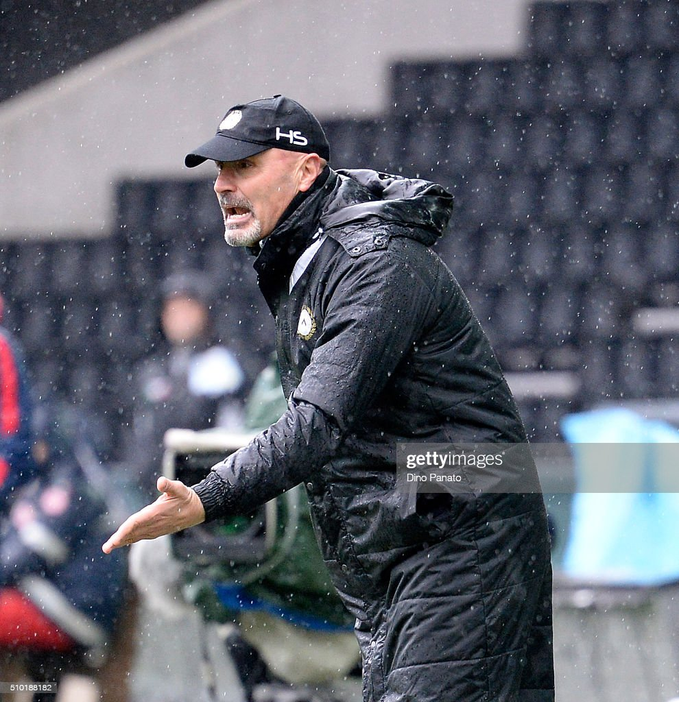 Head coach of Udinese Stefano Colantuono reacts during the Serie A match between Udinese Calcio and Bologna FC at Stadio Friuli on February 14, 2016 in Udine, Italy.