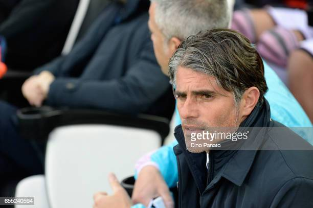 Head coach of US Citta di Palermo Diego Lopez looks on during the Serie A match between Udinese Calcio and US Citta di Palermo at Stadio Friuli on...