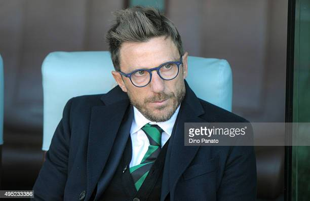 Head coach of US Sassuolo Eusebio Di Francesco looks on during the Serie A match between Udinese Calcio and US Sassuolo Calcio at Stadio Friuli on...