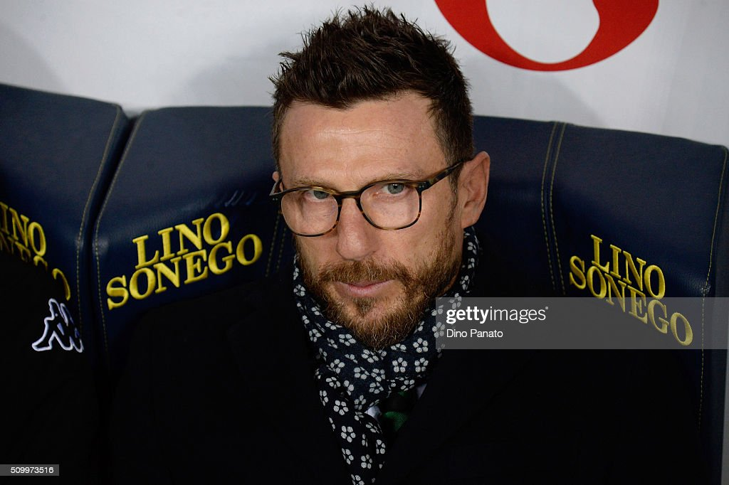 Head coach of US Sassuolo Eusebio Di Francesco looks on during the Serie A match between AC Chievo Verona and US Sassuolo Calcio at Stadio Marc'Antonio Bentegodi on February 13, 2016 in Verona, Italy.
