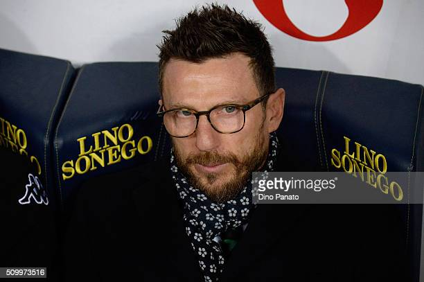 Head coach of US Sassuolo Eusebio Di Francesco looks on during the Serie A match between AC Chievo Verona and US Sassuolo Calcio at Stadio...
