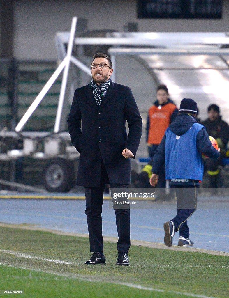 Head coach of US Sassuolo Eusebio Di Francesco looks on during the Serie A match between AC Chievo Verona and US Sassuolo Calcio at Stadio Marc'Antonio Bentegodi on February 13, 2016 in Verona, Italy.