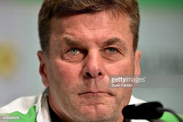 Head coach of VfL Wolfsburg Dieter Hecking talks to the media looks on during the DFB Cup Final 2015 press conference at Olympiastadion on May 29...