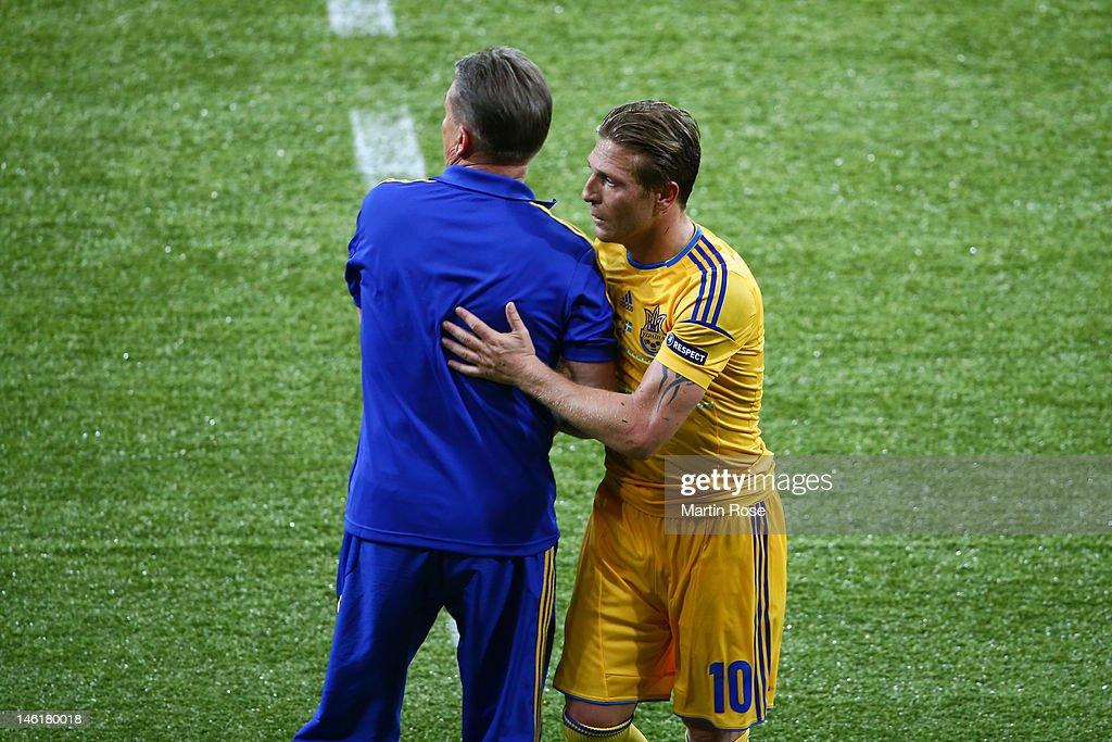 Head Coach Oleh Blokhin of Ukraine and Andriy Voronin of Ukraine during the UEFA EURO 2012 group D match between Ukraine and Sweden at The Olympic...