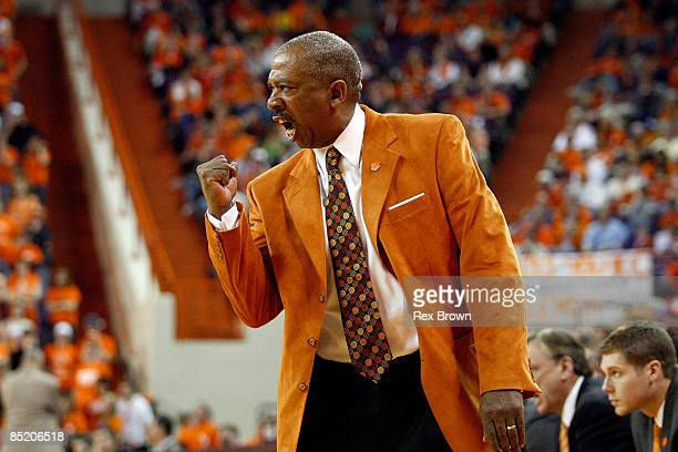 Head coach Oliver Purnell of the Clemson Tigers yells to his team during the first half against the Virginia Cavaliers at Littlejohn Coliseum on...