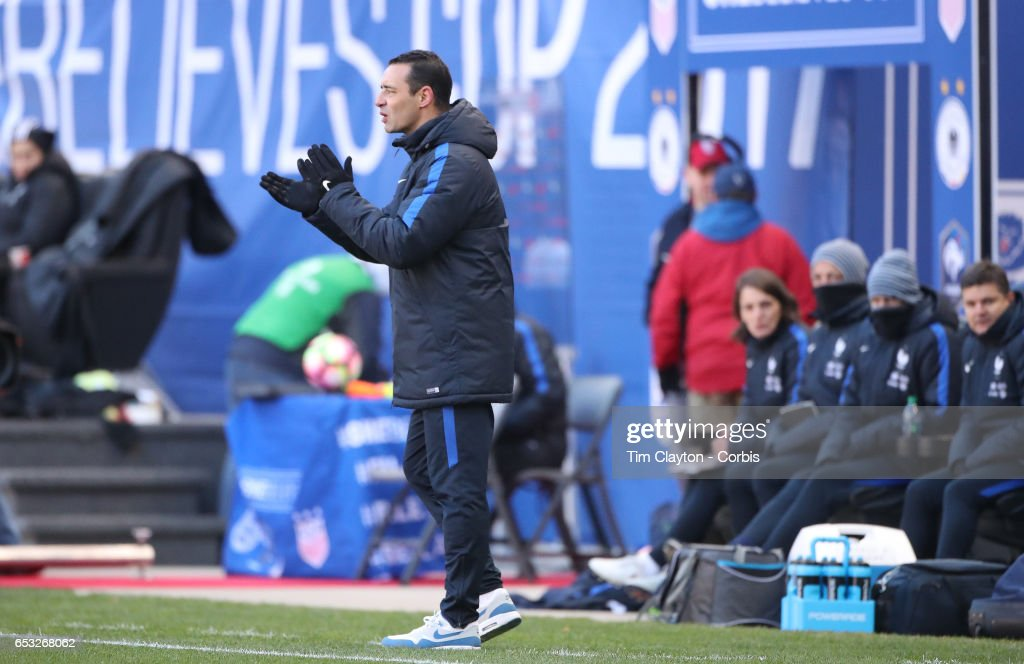 Head coach Olivier Echouafni of France on the sideline during the France Vs Germany SheBelieves Cup International match at Red Bull Arena on March 4, 2017 in Harrison, New Jersey.