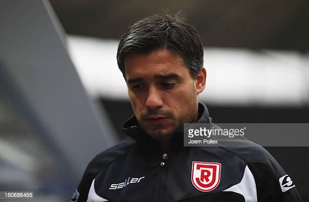 Head coach Oscar Corrochano of Regensburg looks on prior to the Second Bundesliga match between Hertha BSC Berlin and Jahn Regensburg at...