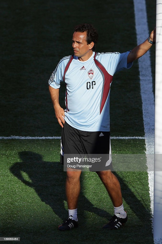 Head coach Oscar Pareja of the Colorado Rapids oversees the team during a training session at the Aloha Stadium on February 22, 2012 in Honolulu, Hawaii. The Rapids are preparing for the Hawaiian Islands Invitational Soccer Tournament.