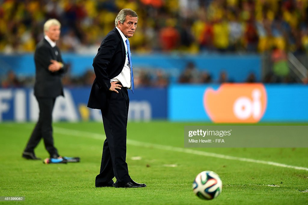 Head coach Oscar Tabarez of Uruguay looks on during the 2014 FIFA World Cup Brazil Round of 16 match between Colombia and Uruguay at Maracana on June 28, 2014 in Rio de Janeiro, Brazil.